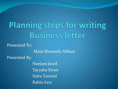 Business Letter Writing Ppt Presentation ppt planning steps for writing business letter