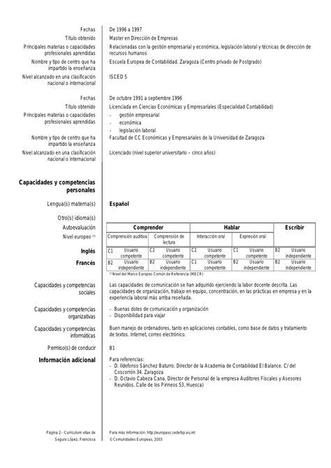Curriculum Vitae En Ingl S Modelo Europass ejemplo de curriculum vitae europass cv eu ejemplo