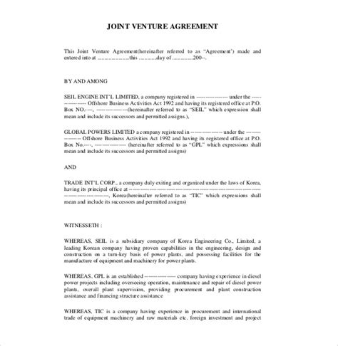Joint Venture Agreement Template Free by 10 Joint Venture Agreement Templates Free Sle