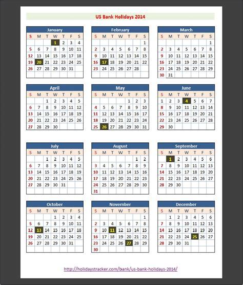 2014 Us Calendar J P Bank Us Holidays 2014 Holidays Tracker