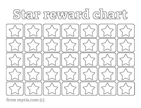 printable star behavior chart printable reward charts fill in the stars myria