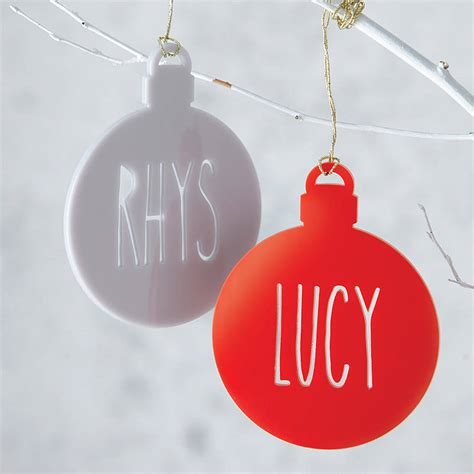 personalised name laser cut christmas tree bauble by miss