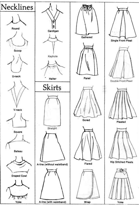 fashion design glossary a visual glossary of neckline and skirt styles fashion