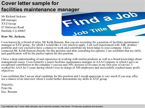Facilities Management Cover Letter by Facilities Maintenance Manager Cover Letter