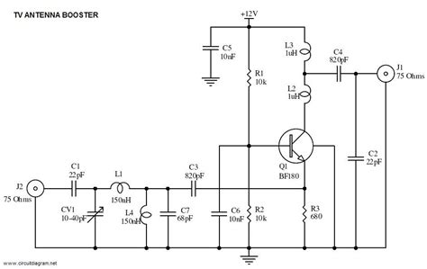 uhf tv antenna booster circuit schematic