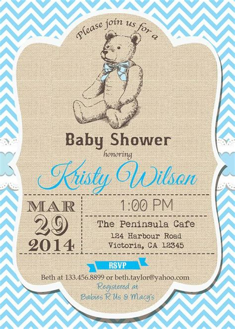 the world s catalog of ideas - Teddy Baby Shower Invitations