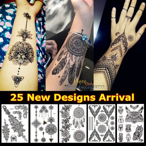 stick on henna tattoos 1pc fashion large indian mehndi black henna temporary