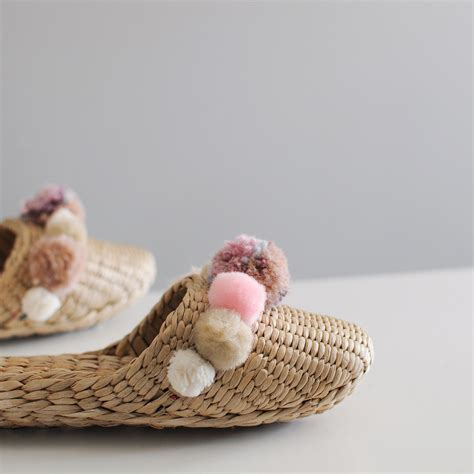 New Edition Fashion Pompom 8813 fortune handwoven pom pom house slippers garmentory