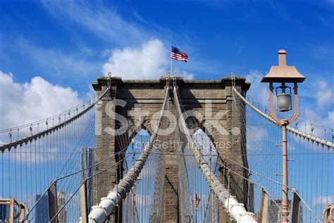 Cable Winder Flag Of America bridge and american flag stock photos