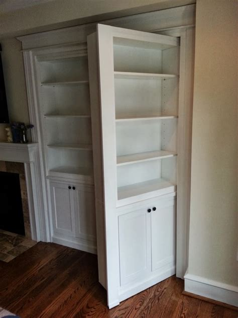 hidden bookcase door traditional family room