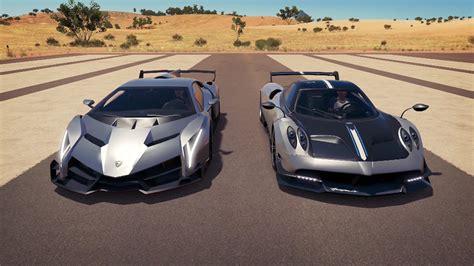 Lamborghini Pagani Lamborghini Veneno Vs Pagani Huayra Bc Drag Race Forza