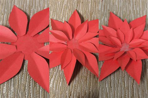 Paper Poinsettia Craft - how to make paper poinsettias petal talk