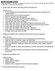 plumber job description resumes design