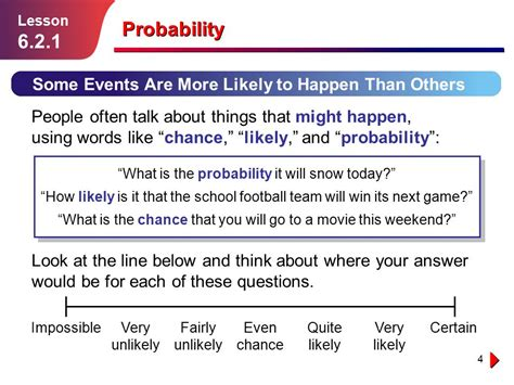 Talk About An Unlikely by Probability Lesson Ppt