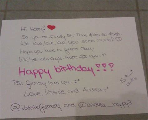 Harry Styles Birthday Card From Andrea Happy3 One Direction S Harry Styles 19th