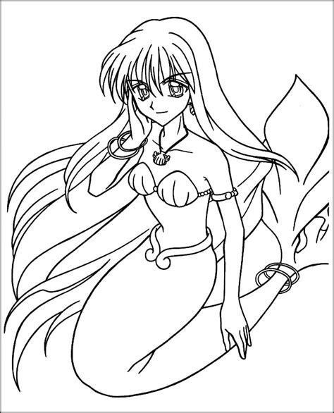 free cute anime mermaids coloring pages
