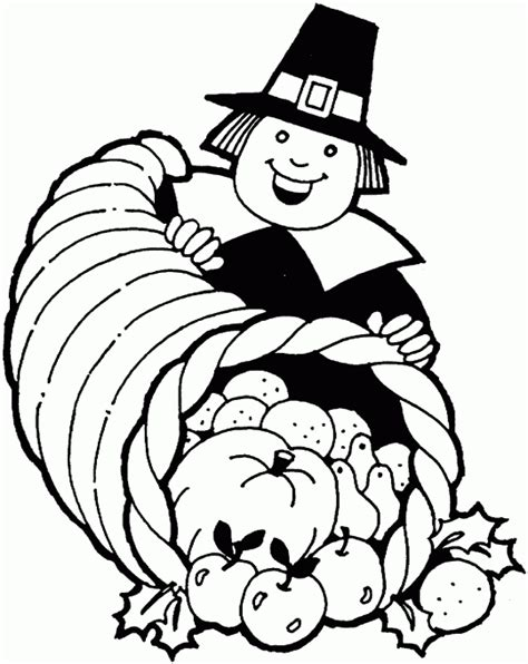 thanksgiving coloring pages pilgrim with horn