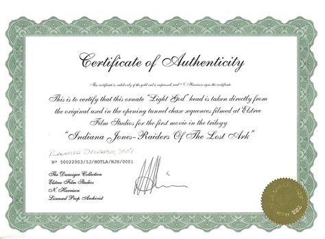 certificate of authenticity photography template elstree props fertility idols light gods danziger