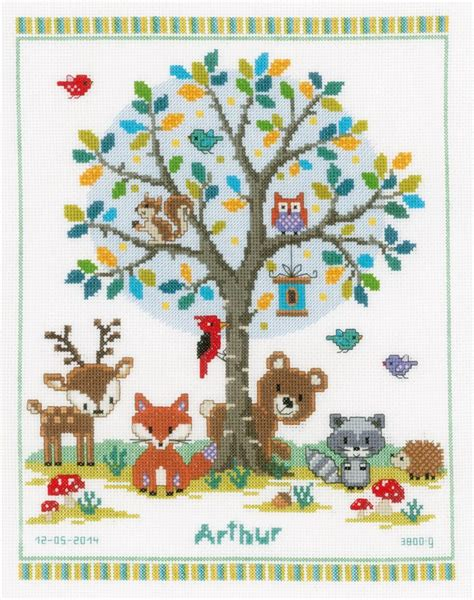 Birth Record Cross Stitch Woodland Birth Record Cross Stitch Kit Cross Stitch Vervaco Pn 0149396