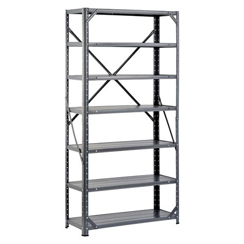 lowes metal shelves shop edsal 60 in h x 30 in w x 12 in d 7 tier steel freestanding shelving unit at lowes