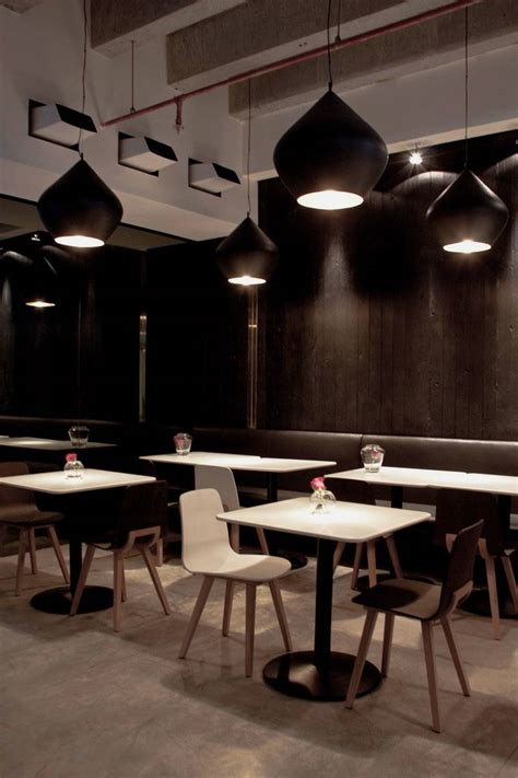 themes for restaurant design interior in black modern restaurant in black and white
