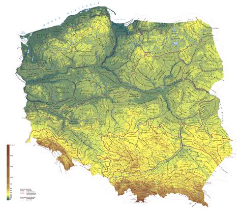poland map europe large detailed physical map of poland poland europe