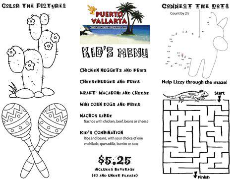 kids menu puerto vallarta mexican restaurant