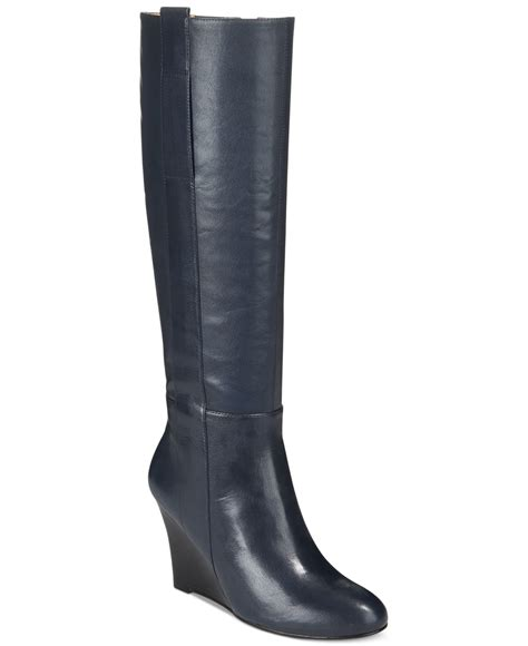 nine west wedge boots nine west oran wedge boots in blue navy leather lyst