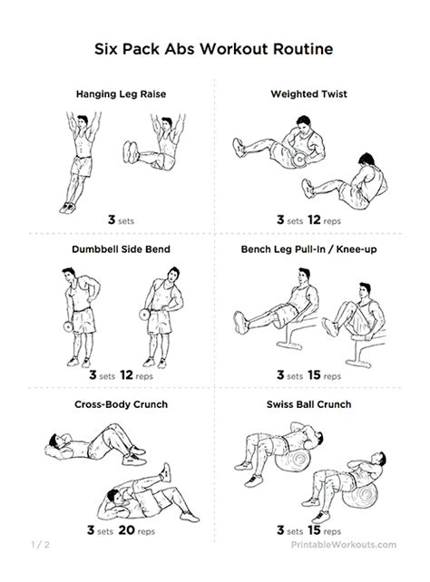 great quot six pack abs quot strength workout routine printable workouts weightlifting