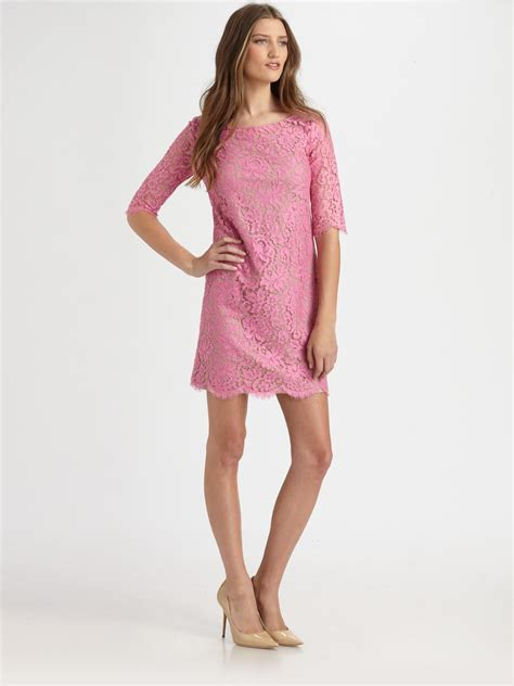 27858 Pink Lace Dress lyst robert rodriguez lace shift dress in pink