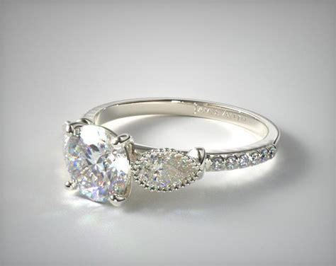 14k white gold fanciful fluted pear pave engagement ring