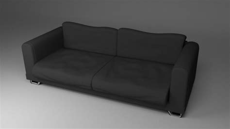 ebony couch black fabric couch sofa 3d model obj fbx blend dae