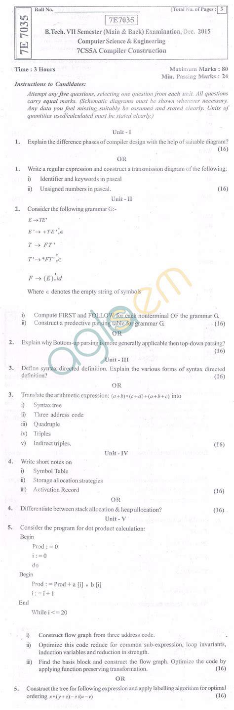compiler design previous question paper sixth semester b rtu question papers 7 semester cs compiler