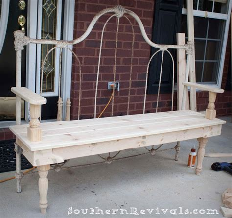 diy headboard bench diy repurposed metal headboard bench southern revivals