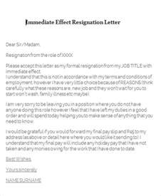 Resignation Letter Exles With Immediate Effect 65 Sle Resignation Letters