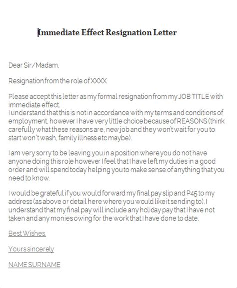 resignation with immediate effect template 65 sle resignation letters
