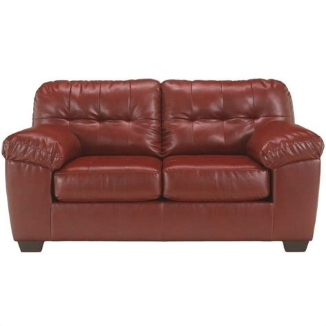 ashley leather loveseat ashley furniture alliston leather loveseat in salsa 2010035
