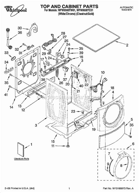 whirlpool front load washing machine parts diagram water