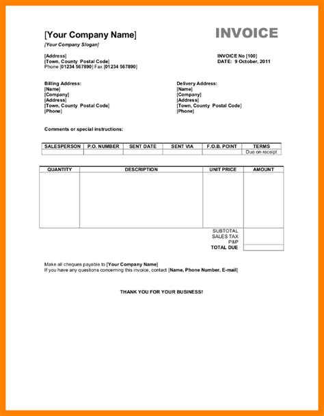 Invoice Letter Format In Word 6 Travels Bill Format In Word Science Resume