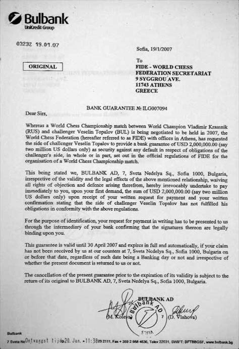 Sle Of Guarantee Letter To Bank Bank Guarantee Letter Articleezinedirectory