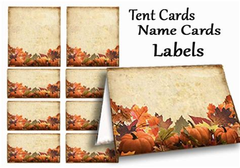 name card fall templat 2 x 3 1 2 thanksgiving name tags fall place cards thanksgiving table