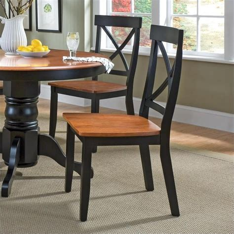 dining chair in black and cottage oak set of 2 5168 802