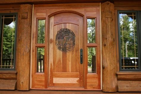 hand crafted hand carved entry door   thick