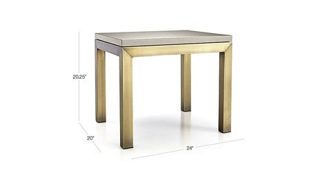 crate end table gray parsons grey solid surface top brass base 20x24 end table