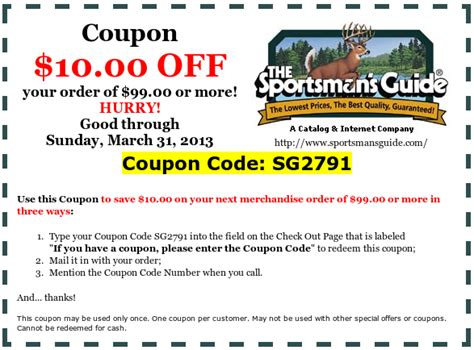 the sportsman s guide 10 off 99 printable coupon