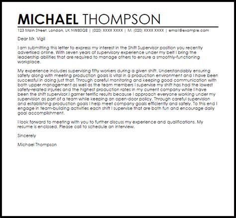 Shift Supervisor Cover Letter Sample   LiveCareer