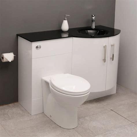 Vigo Bathroom Furniture Vigo Right Bow Front Combination Unit With Black Basin