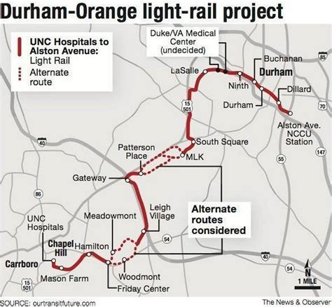 Light Rail Route by Proposed Routes And Alternatives For The Durham Chapel