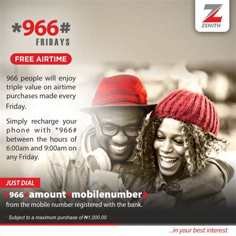 Win Instant Airtime Online - zenith bank introduces 966 fridays triple free airtime freedom online