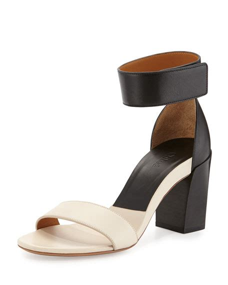 Two Block Heel Sandal - two tone block heel sandal black white neiman